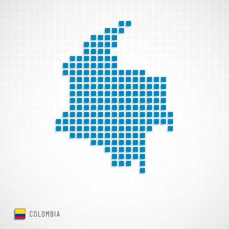 Colombia map dotted basic shape and flag icon