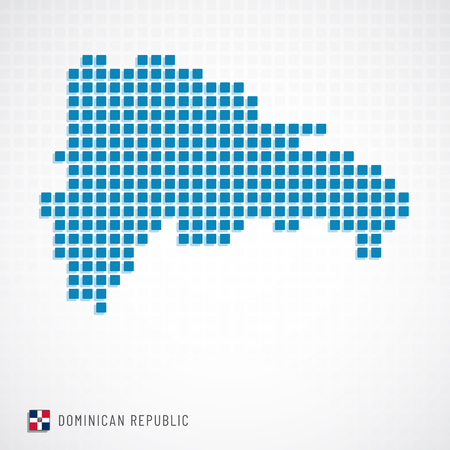 Vector illustration of Dominican republic map dotted basic shape and flag icon Vectores
