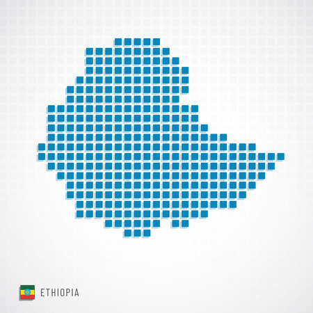 Vector illustration of Ethiopia map dotted basic shape icons and flag Stock Illustratie