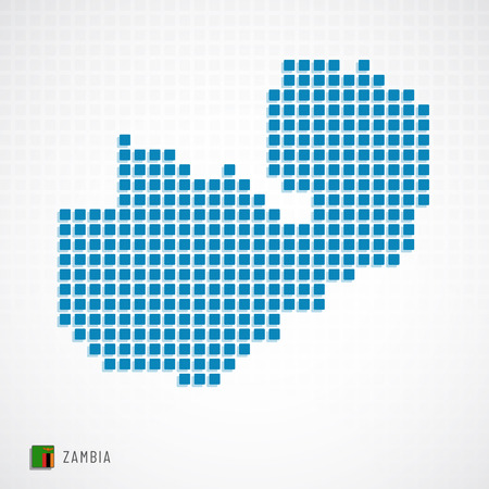 Vector illustration of Zambia map dotted basic shape icons and flag Illustration