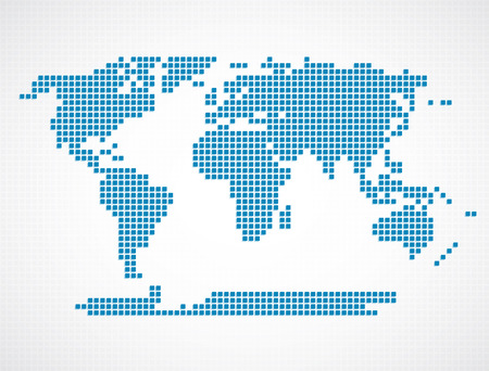 Blue map of world on white background vector illustration