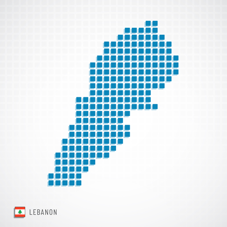 Vector illustration of Lebanon map dotted basic shape icons and flag