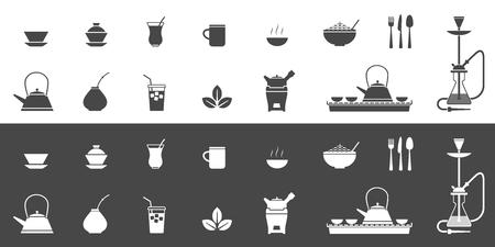 Vektorsatz von Ikonen im Zusammenhang mit dem Trinken von Tee in der Kneipe