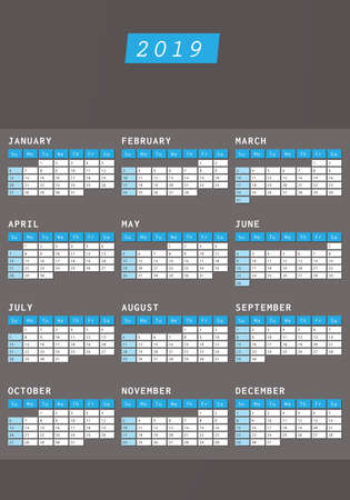 Calendario 2019 en diseño oscuro con espacio para texto comercial Ilustración de vector