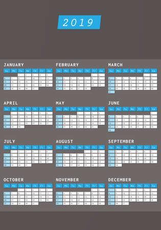 Calendario 2019 in design scuro con spazio per testo commerciale Vettoriali