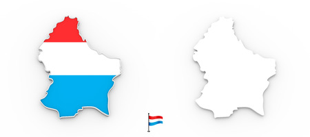 3D High detailed white silhouette of Luxembourg map and national flag
