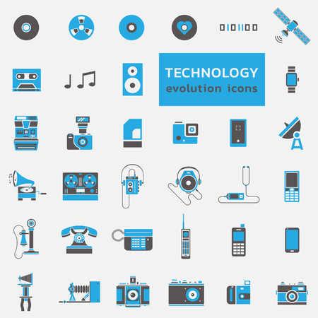 Vector set of technology and media icons in black blue flat design