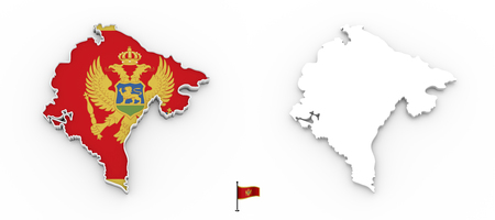 3D High detailed white silhouette of Monte Negro map and national flag Reklamní fotografie