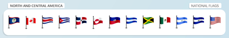 Vector set of national flags of North and central America in flagpole design Vectores