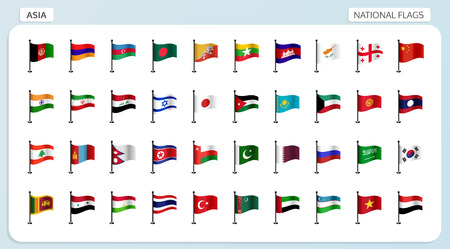 Vector set of national flags of Asia in flagpole design
