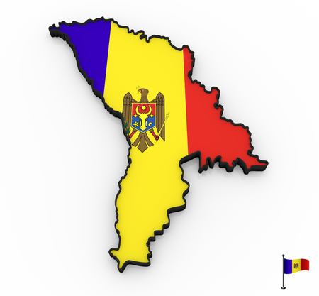 3D model of Moldova filled with national flag on white background Stock Photo