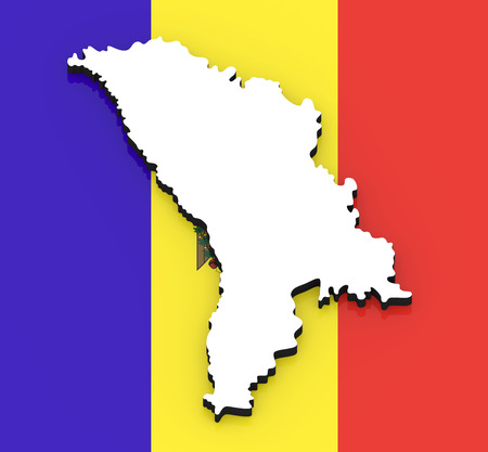 3D White silhouette of the Moldova state on the national flag Stock Photo