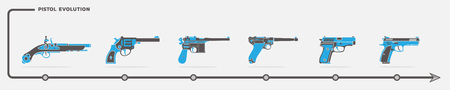 Vector set of pistol and handgun icons in flat design