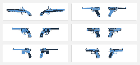 Vector set of pistol and handgun icons in flat design with shadow