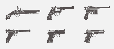 Vector set of one handed weapons pistol and handgun icons in one color shape