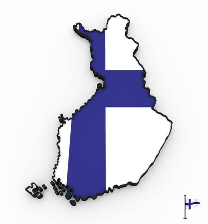 3D model of Finland filled with national flag on white background