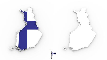 3D High detailed white silhouette of Finland map and national flag