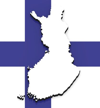3D White silhouette of the Finland state on the national flag