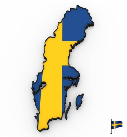 3D model of Sweden filled with national flag on white background Фото со стока