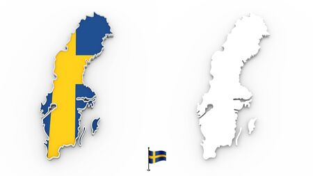 3D High detailed white silhouette of Sweden map and national flag