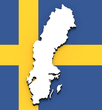 3D White silhouette of the Sweden state on the national flag