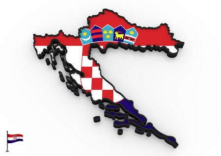 3D model of Croatia filled with national flag on white background