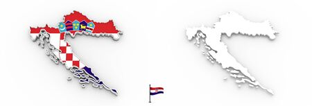 3D High detailed white silhouette of Croatia map and national flag Фото со стока