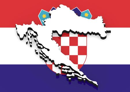 3D White silhouette of the Croatia state on the national flag