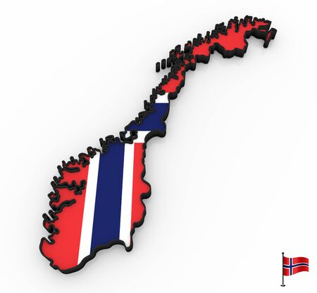 3D model of Norway filled with national flag on white background