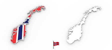 3D High detailed white silhouette of Norway map and national flag