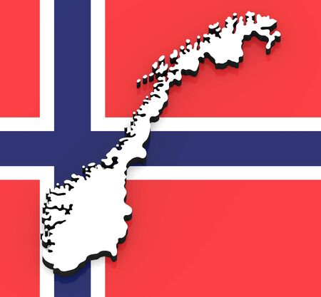 3D White silhouette of the Norway state on the national flag