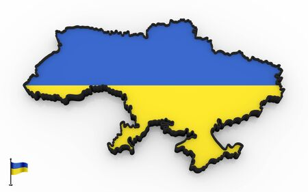 3D model of Ukraine filled with national flag on white background