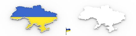 3D High detailed white silhouette of Ukraine map and national flag