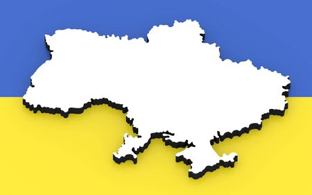 3D White silhouette of the Ukraine state on the national flag