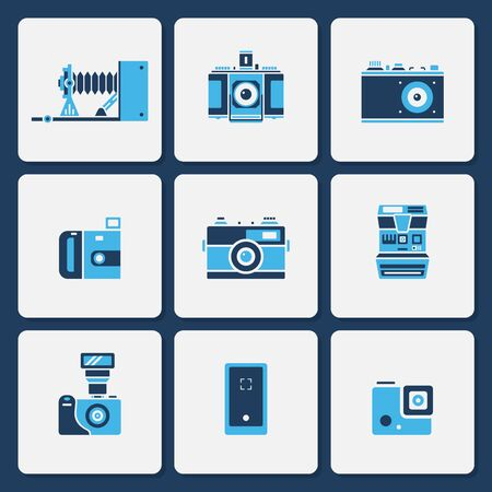 Vector collection of various camera icons in simple two color shape design Vectores