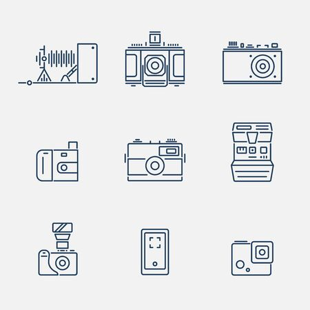 Vector collection of various camera icons in outline design Vectores