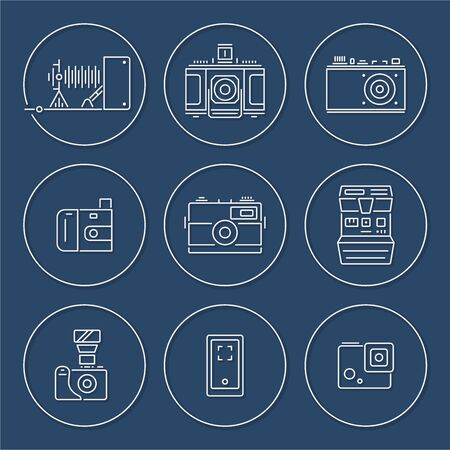 Vector collection of various camera icons in outline circle design with shadow