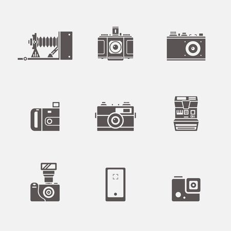Vector collection of various camera icons in simple grey shape design