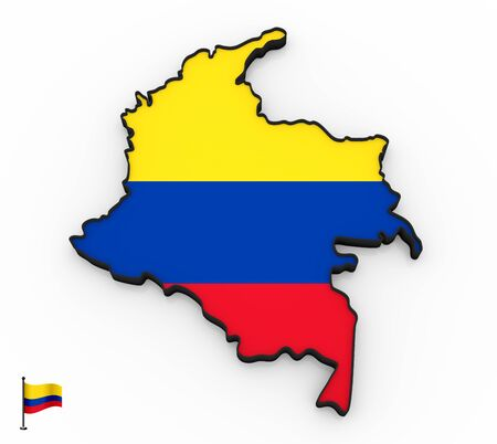3D model of Colombia filled with national flag on white background