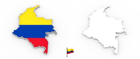 3D High detailed white silhouette of Colombia map and national flag