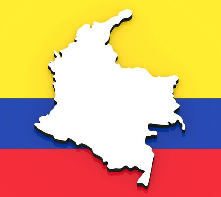 3D White silhouette of the Colombia state on the national flag