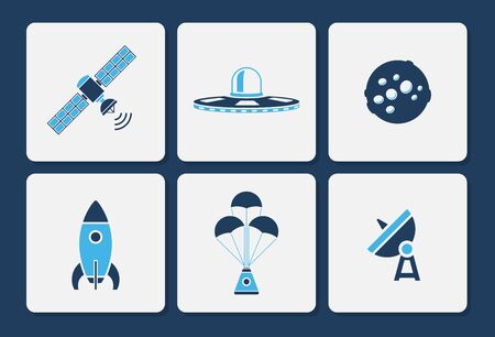 Vector collection of various space icons in simple two color shape design Vectores
