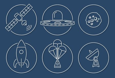 Vector collection of various space icons in outline circle design with shadow Vectores