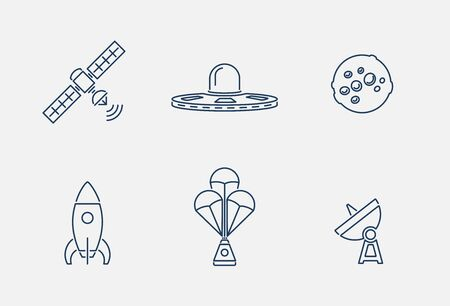 Vector collection of various space icons in outline design