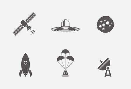 Vector collection of various space icons in simple grey shape design Vectores