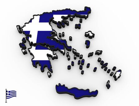 3D model of Greece filled with national flag on white background Foto de archivo