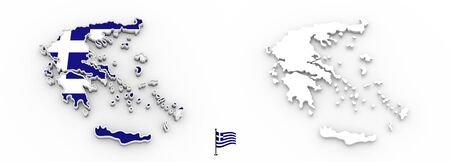 3D High detailed white silhouette of Greece map and national flag Foto de archivo