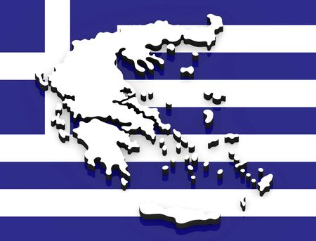3D White silhouette of the Greece state on the national flag Foto de archivo