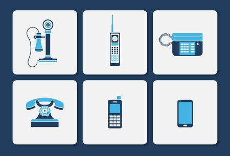 Vector collection of various phone icons in simple two color shape design