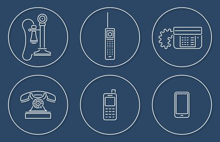 Vector collection of various phone icons in outline circle design with shadow Vectores